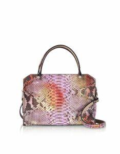 Ghibli Designer Handbags, Lilac Python Square Tote Bag