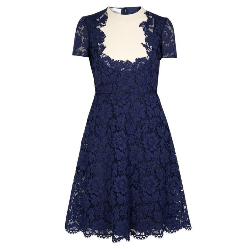 Valentino Navy Panelled Lace Dress