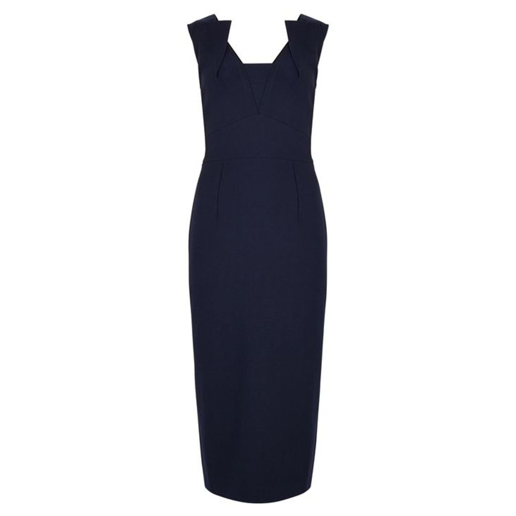 Roland Mouret Coleby Navy Stretch-cady Dress