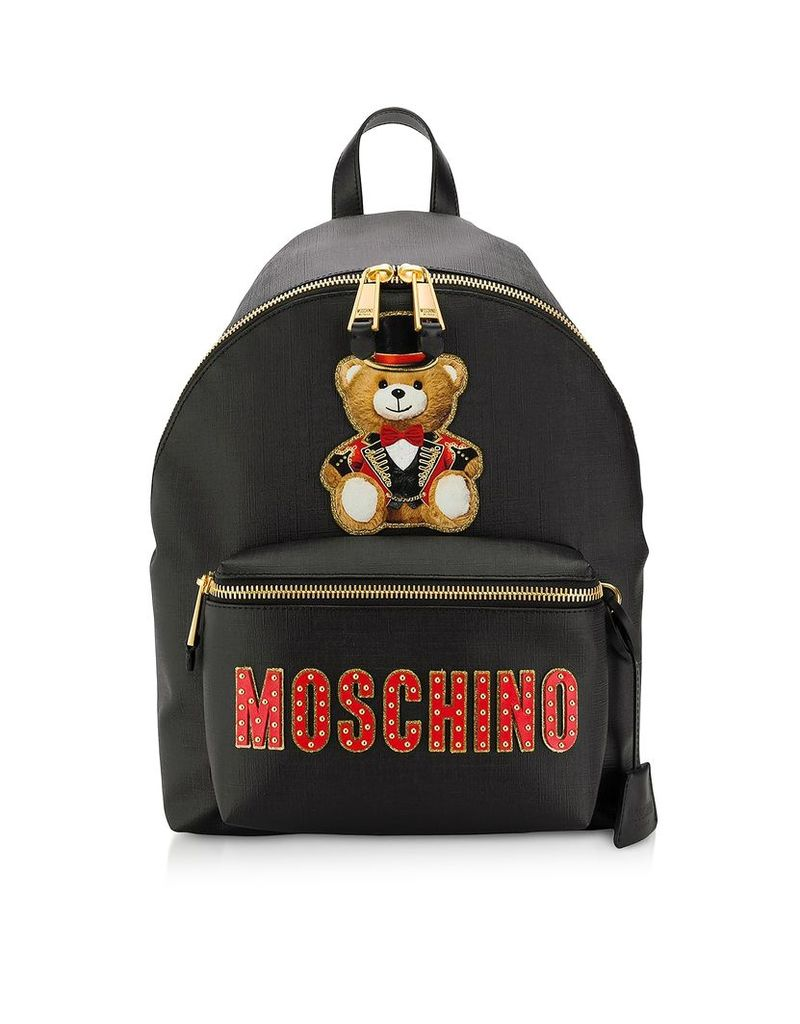 Moschino Designer Handbags, Black Teddy Bear Backpack W & Teddy Circus Patch