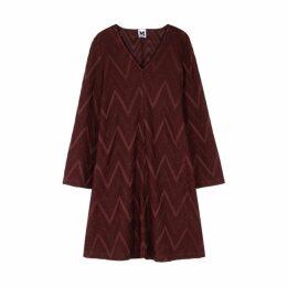 M Missoni Bordeaux Zigzag Metallic-knit Dress