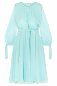 ARoss Girl x Soler - Amanda Belted Silk-georgette Midi Dress - Blue