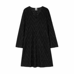M Missoni Black Zigzag Metallic-knit Dress