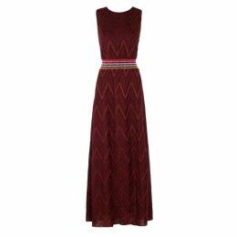 M Missoni Bordeaux Zigzag Metallic-knit Maxi Dress