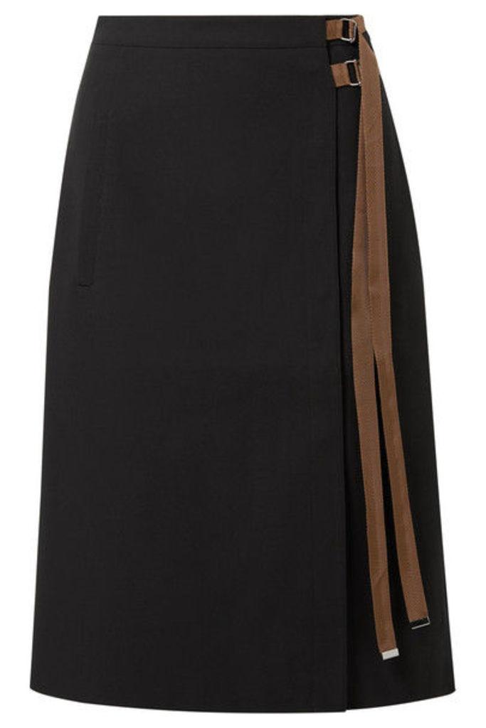 Tibi - Anson Grosgrain-trimmed Crepe Midi Skirt - Black