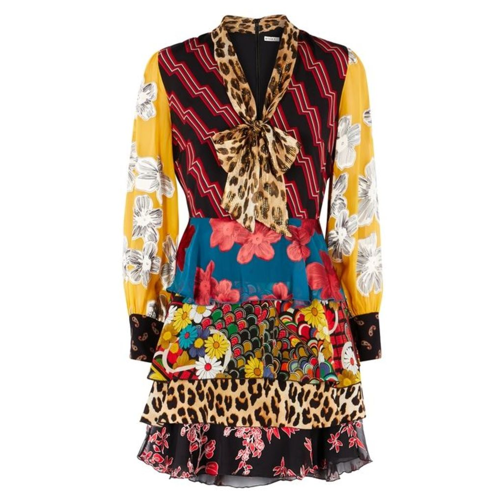 Alice + Olivia Dasha Panelled Silk Mini Dress