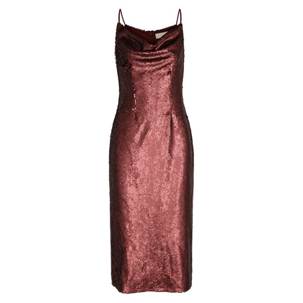 KEEPSAKE No Signs Bordeaux Sequinned Midi Dress