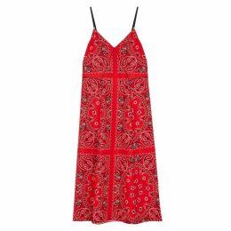 Alexander Wang Red Printed Silk Midi Slip Dress