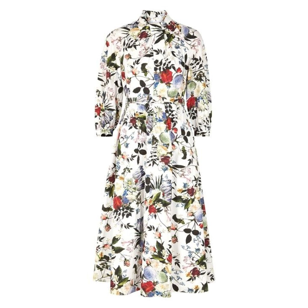 Erdem Adrienne Floral-print Cotton Midi Dress