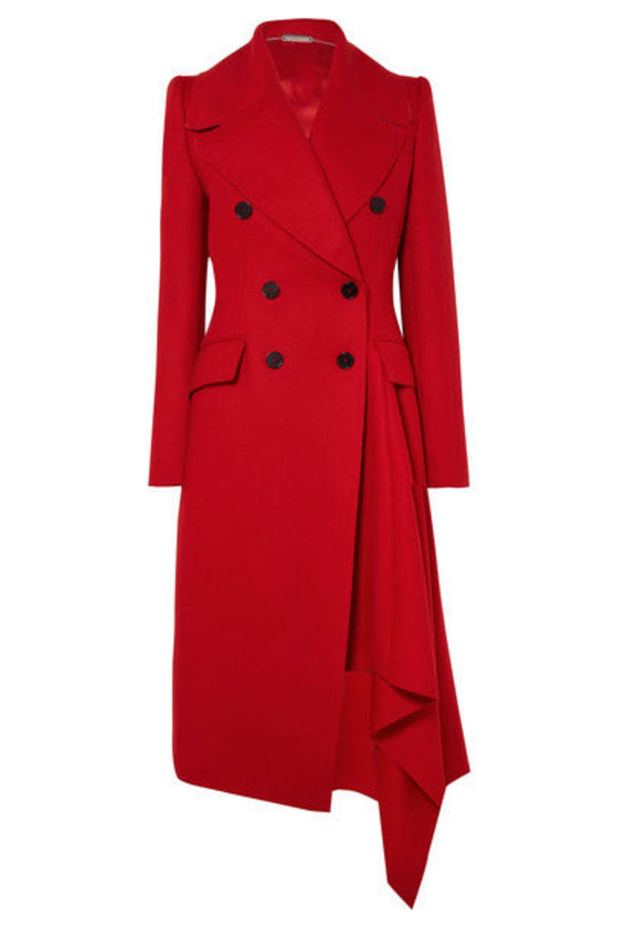 Alexander McQueen - Double-breasted Asymmetric Wool And Cashmere-blend Coat - Red