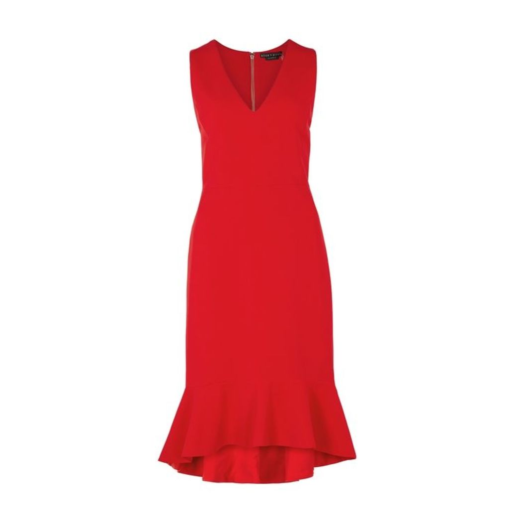 Alice + Olivia Glenna Red Cady Midi Dress