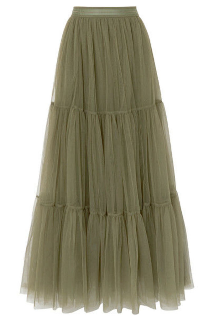Brunello Cucinelli - Tiered Bead-embellished Tulle Skirt - Green