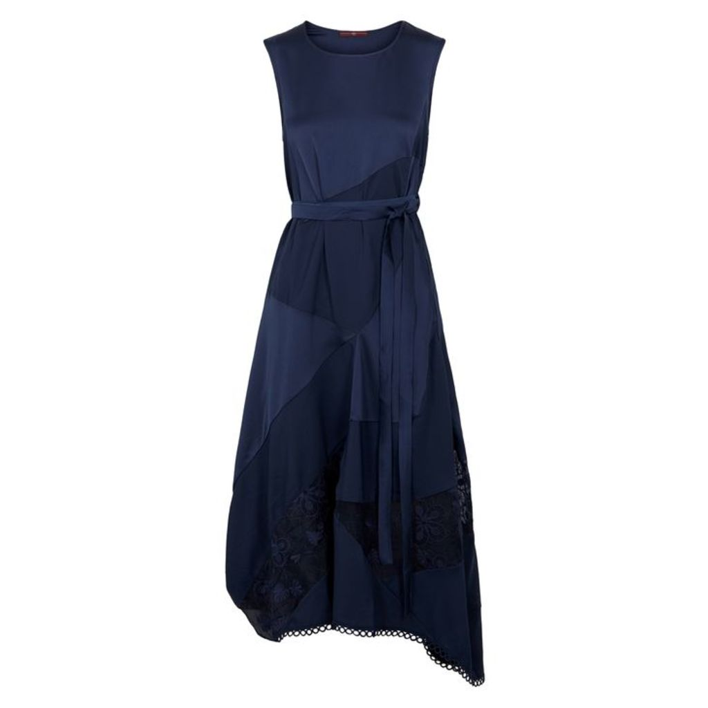 HIGH Illusion Navy Satin Crepe Midi Dress