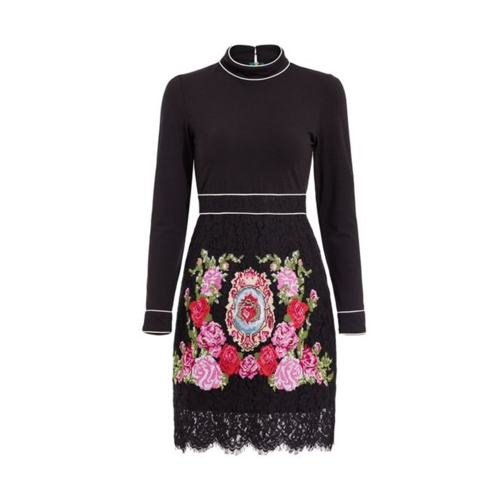Comino Couture Black High Neck Embroidered Dress