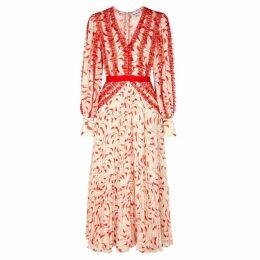 Self-Portrait Crescent-print Chiffon Midi Dress