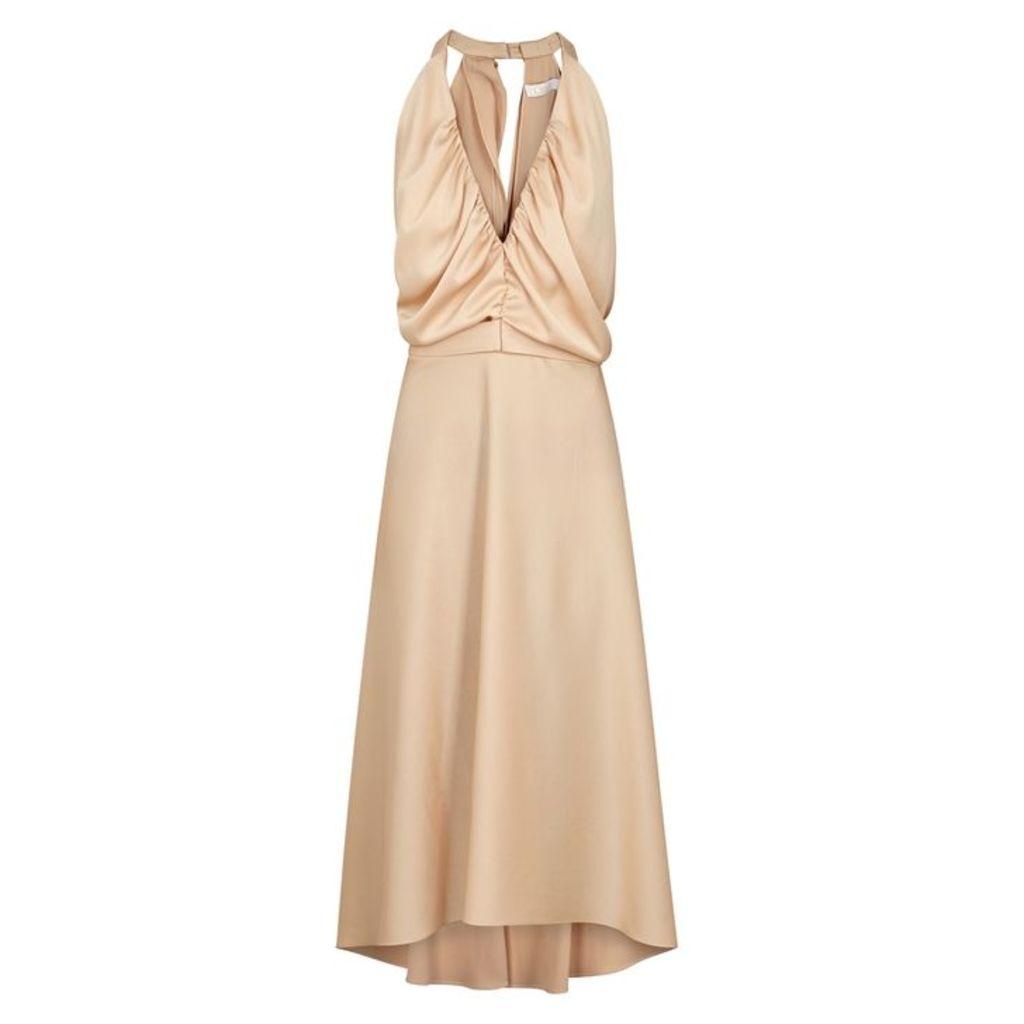 Chloé Almond Halterneck Satin Midi Dress