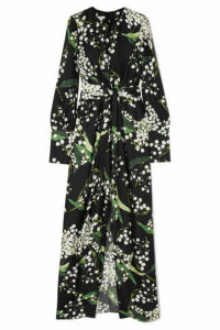 Oscar de la Renta - Draped Floral-print Silk-twill Maxi Dress - Black