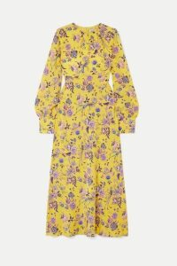 Les Rêveries - Floral-print Silk Crepe De Chine Dress - Yellow