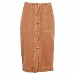 Free People Brown Denim Midi Skirt