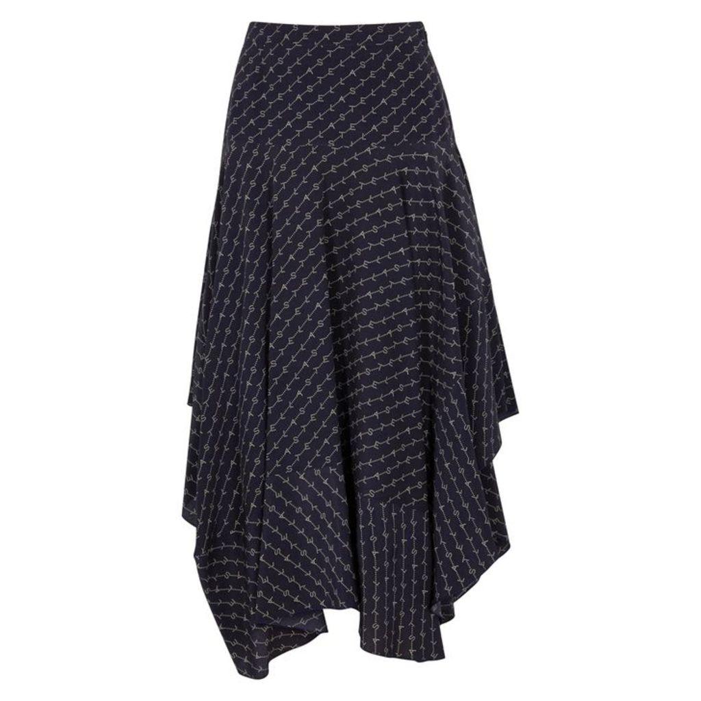 Stella McCartney Poppy Navy Monogrammed Silk Skirt