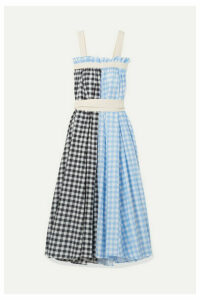 Lee Mathews - Clara Grosgrain-trimmed Checked Cotton And Silk-blend Maxi Dress - Blue
