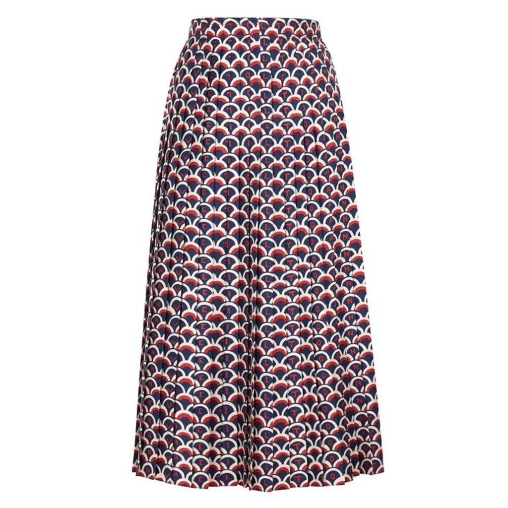 Valentino Printed Pleated Silk Skirt