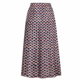 Valentino Printed Pleated Silk Skirt