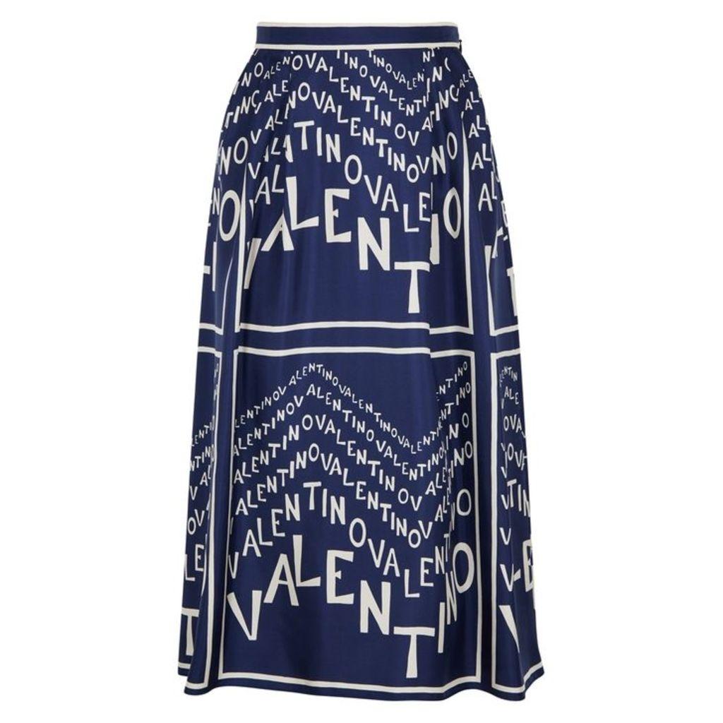 Valentino Blue Printed Silk Twill Skirt
