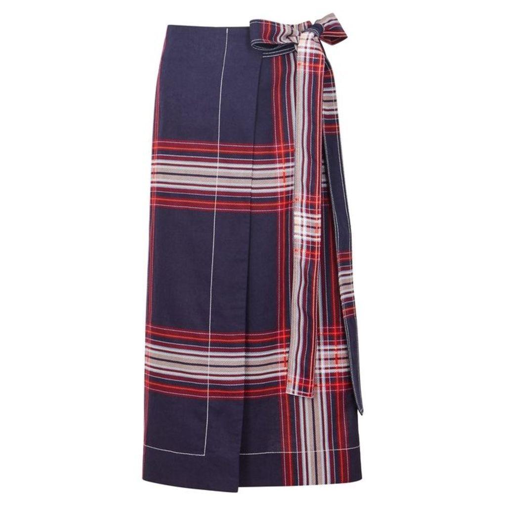 BY MALENE BIRGER Villimma Checked Linen-blend Wrap Skirt