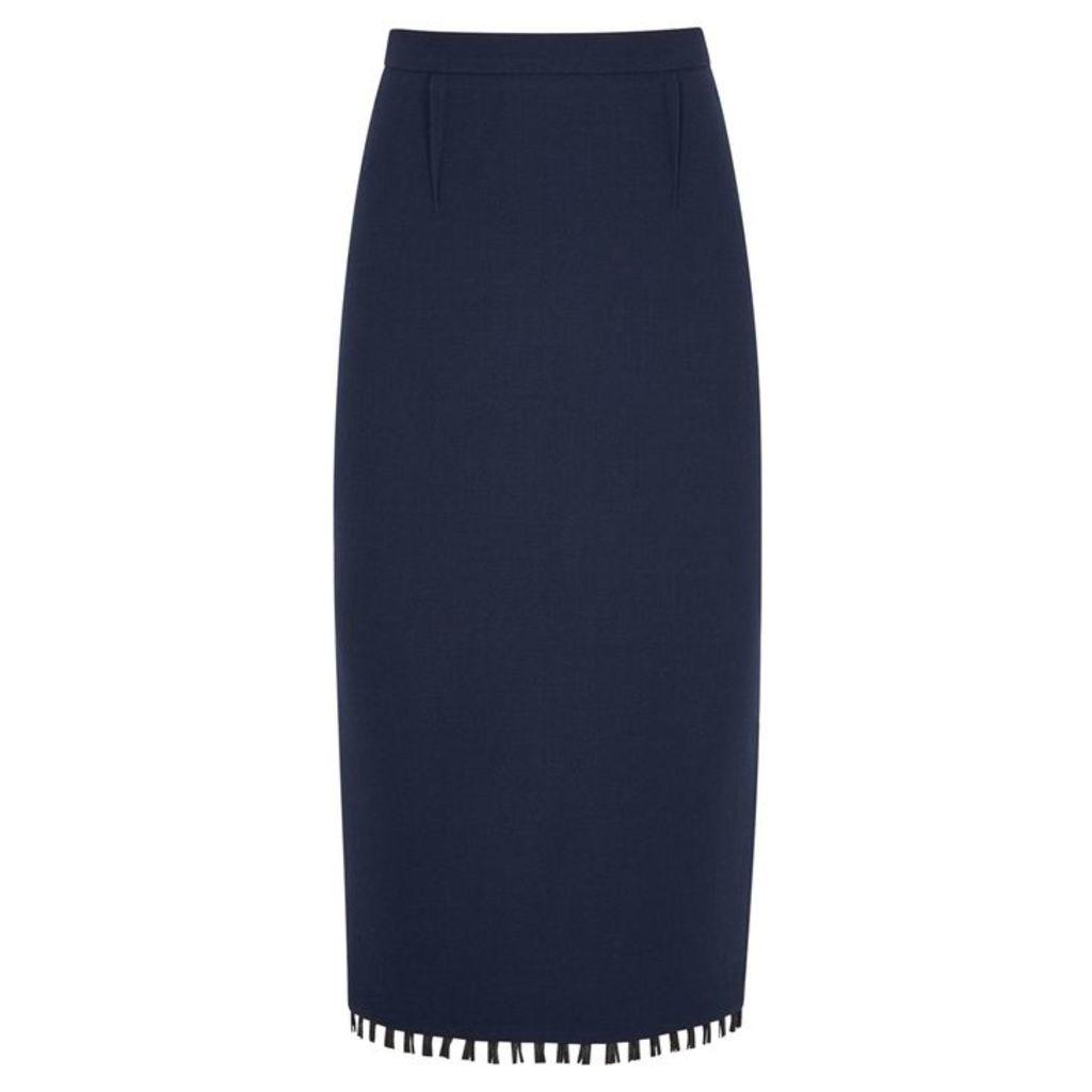 Roland Mouret Arreton Fringe-trimmed Wool Pencil Skirt