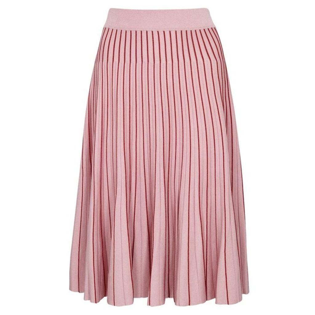 Jonathan Simkhai Pink Pleated Stretch-knit Skirt