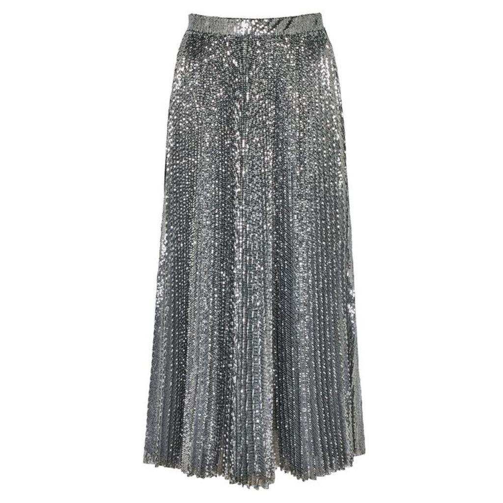 MSGM Silver Sequinned Midi Skirt