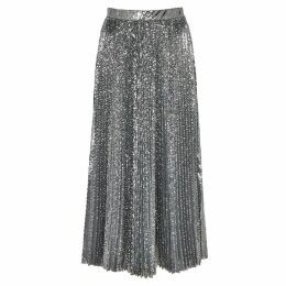 MSGM Silver Sequinned Midi Skirt