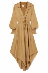 ARJÉ - Wrap-effect Belted Silk-satin Dress - Taupe