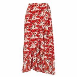 RIXO Gracie Floral-print Silk Chiffon Midi Skirt