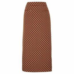 Rejina Pyo Mina Chestnut Polka-dot Midi Skirt