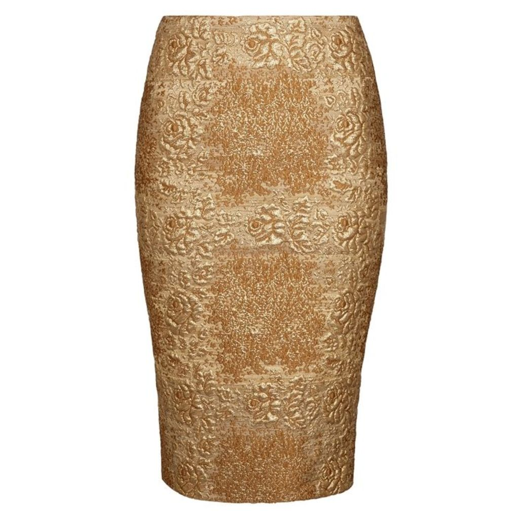 Valentino Gold Floral-brocade Pencil Skirt