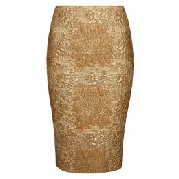 Valentino Gold Floral-brocade Pencil Skirt