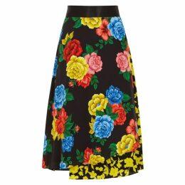 Alice + Olivia Nanette Floral-print Silk Midi Skirt