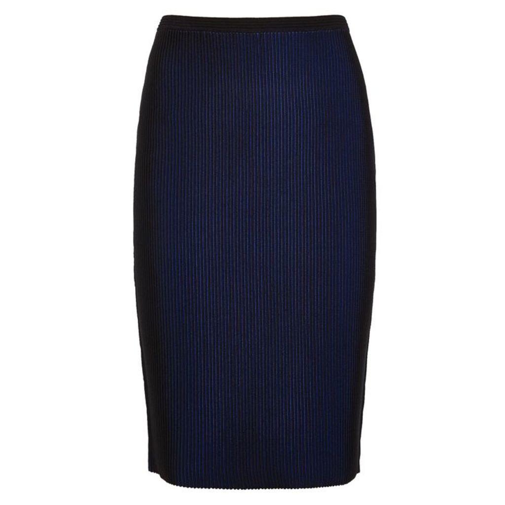 Diane Von Furstenberg Lesa Two-tone Ribbed Midi Skirt