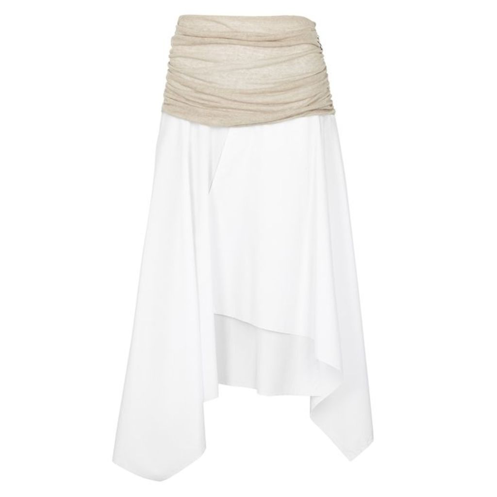 Loewe White Cotton And Linen Skirt