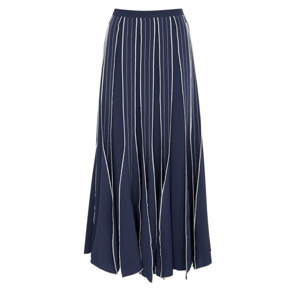 Tory Burch Navy Silk Skirt