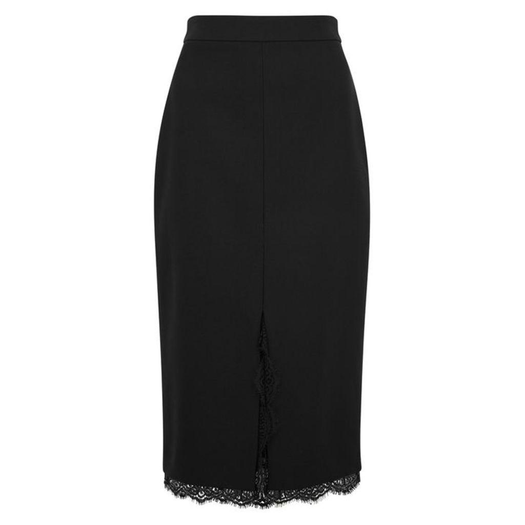 Alexander McQueen Lace-trimmed Wool-blend Pencil Skirt