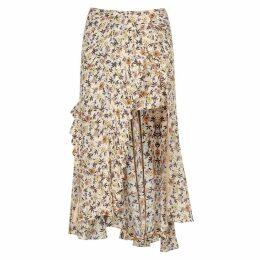 Chloé Floral-print Wrap-effect Midi Skirt