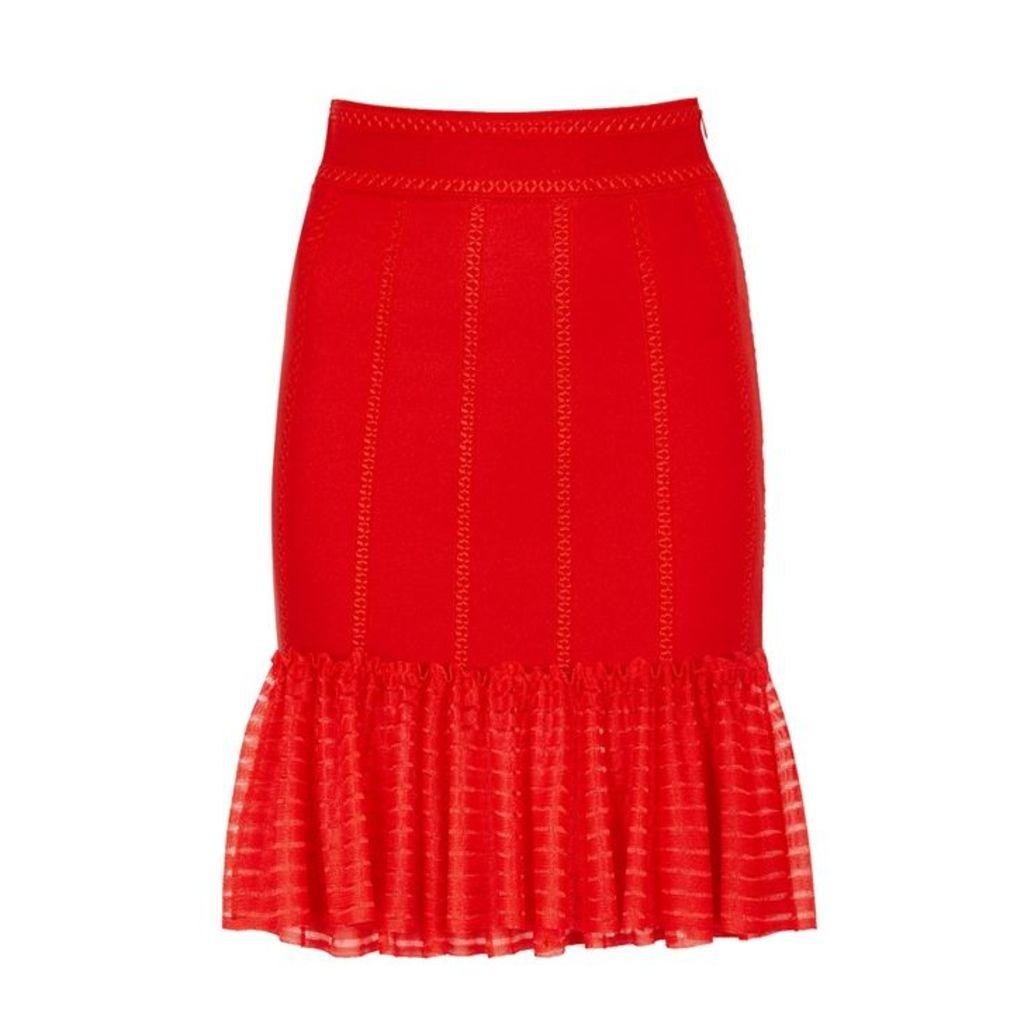 Alexander McQueen Red Stretch-knit Skirt