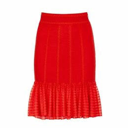 Alexander McQueen Red Stretch-knit Skirt