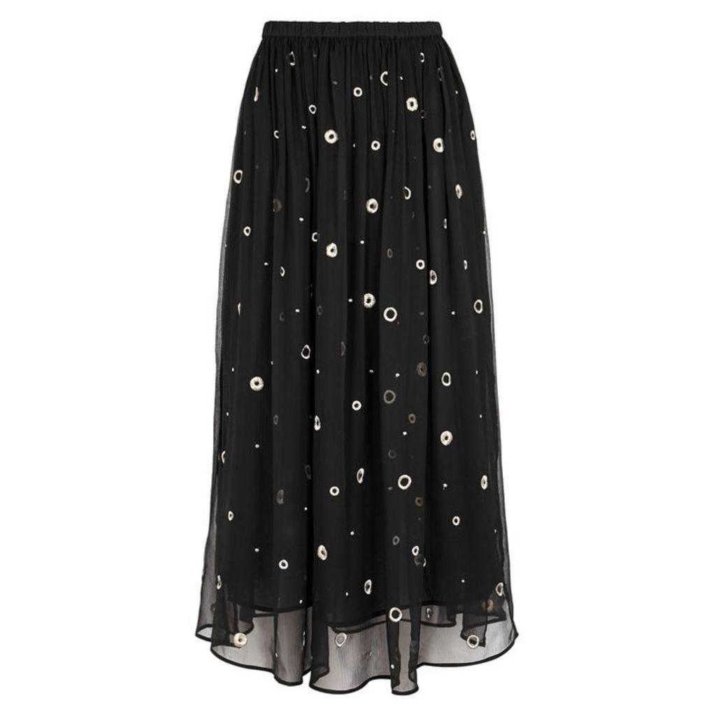 Vince Black Embroidered Silk Chiffon Midi Skirt