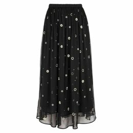 Vince Black Embroidered Silk Chiffon Midi Skirt