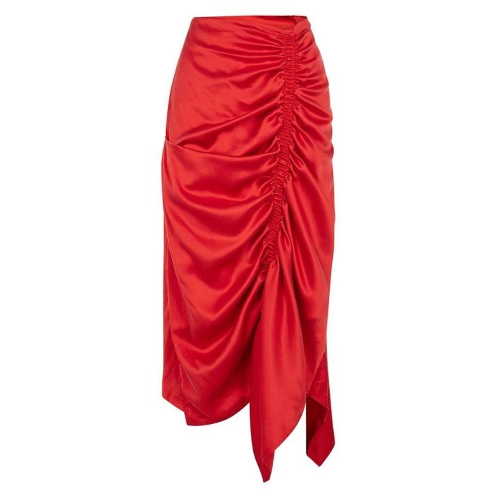 Preen By Thornton Bregazzi Tahita Ruched Silk Skirt