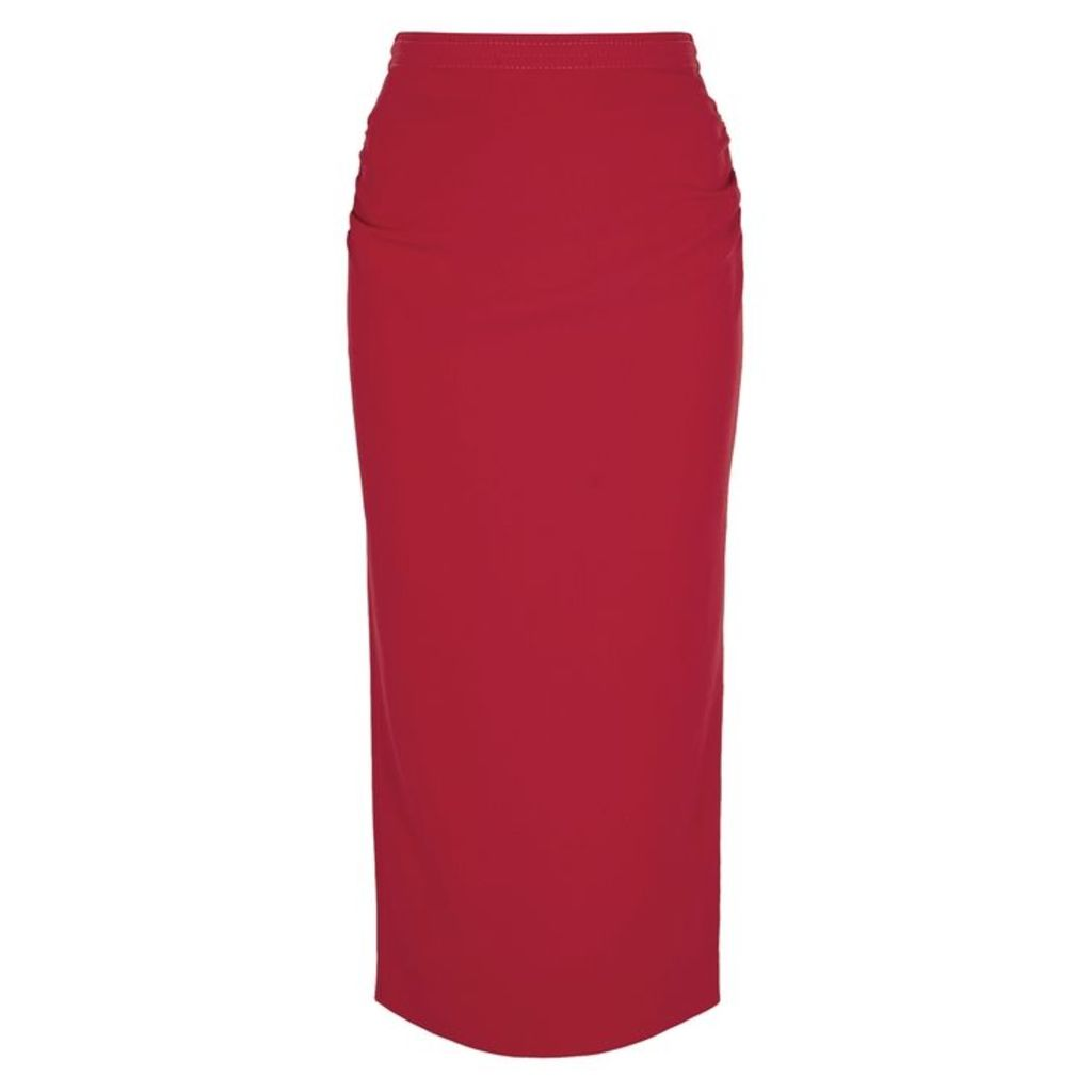 No.21 Red Ruched Pencil Skirt